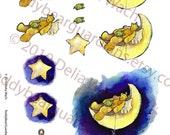 EASY 3-D Crafting - Moon Bear and Turtle- Single Sheet Deal - craft peices for making note cards - Printable PDF