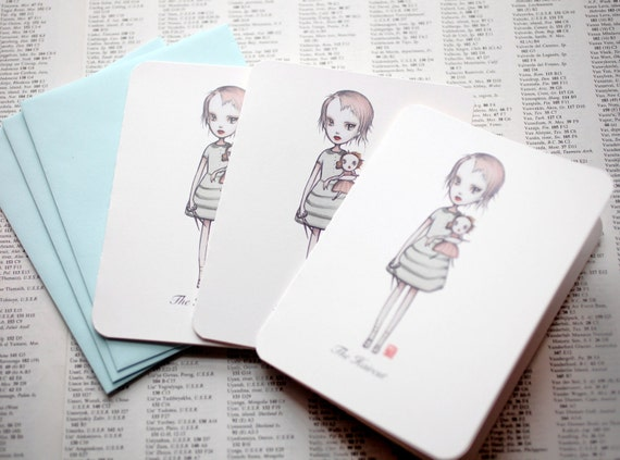 The Haircut - 3 blank note cards - by Mab Graves