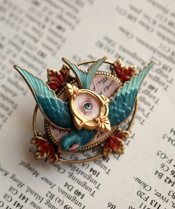 Snow White and the Bluebird of Happiness - Eye Candy brooch -  by Mab Graves