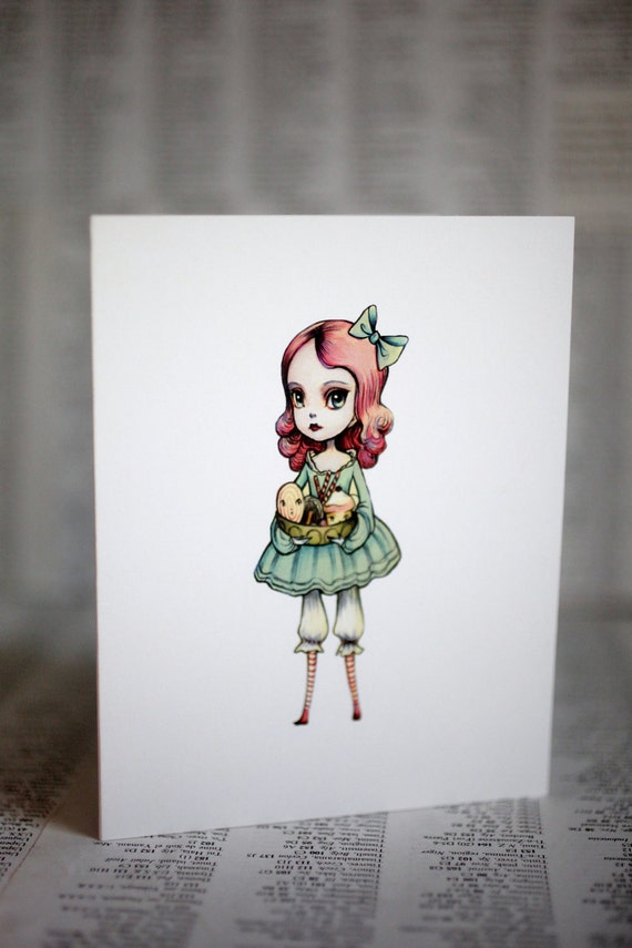 The Candy Girl - Candyland Love - 3 blank notecards- by Mab Graves