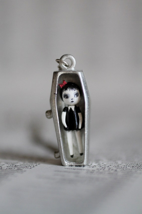 Emily - miniature stone clay vampire art doll in teeny coffin cameo setting  - by Mab Graves