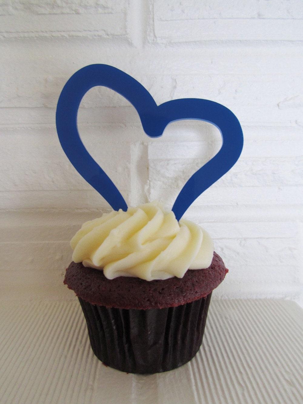 blue heart cake topper