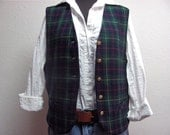 Tartan preppy vest with gold buttons wool