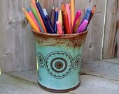 Ceramic utility jar paint brush holder crop circles IMAGINE PEACE - OOAK Shabby Chic Pottery