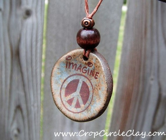 IMAGINE PEACE Ceramic Pendant - peace symbol jewelry - rustic, earthy, bohemian - agate green, blue and chocolate brown
