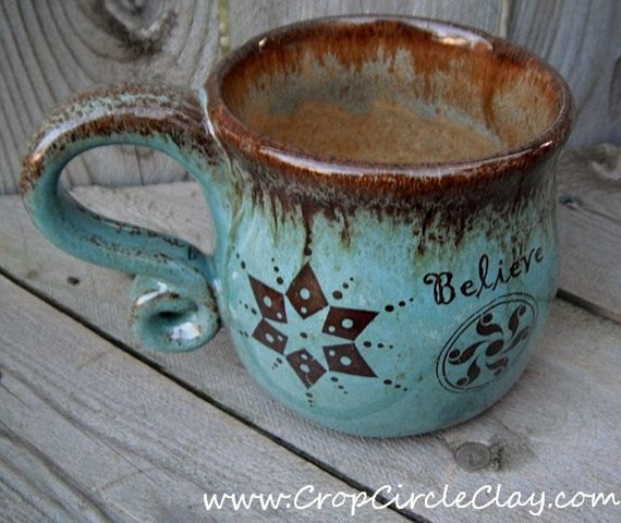 BELIEVE Crop Circle Coffee Mug - Wheel Thrown Ceramic Coffee Cup - Rustic Earthy - Mint Chocolate Chip - Dream Believe Imagine