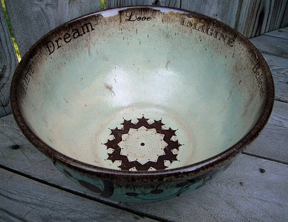 Cottage chic hand thrown bowl - stoneware pottery - IMAGINE BELIEVE DREAM crop circles mint chocolate chip