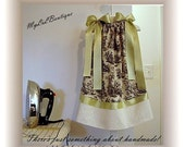 Childrens Toile Dress - With Eyelet Hem 9 12 18 24 Months 2T 3T 4T 5T 6\/7