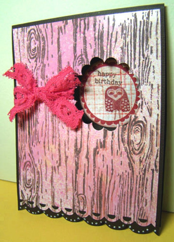 Peek-a-Boo Owl Happy Birthday Card with Hand Stamped Wood Grain and Pink Wash