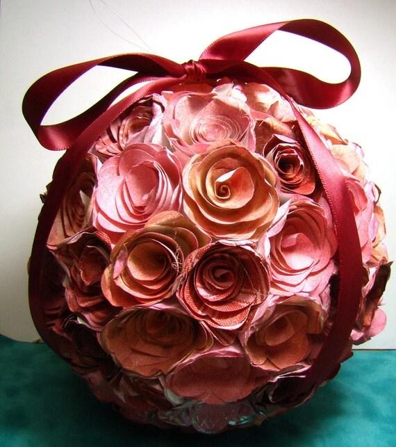 "Raspberry Pink Paper Flower Decorative Ball 6"" diameter ready to hang"