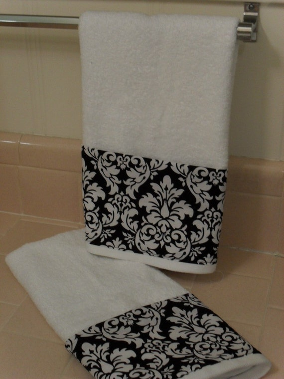 Black Damask Bathroom Hand Towels Set Of 2 By Headtotoe2009