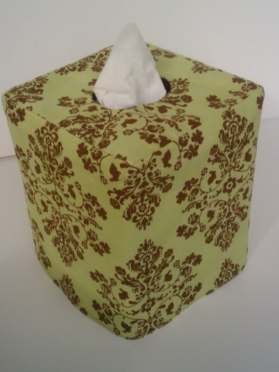 Green damask reversible tissue box cover
