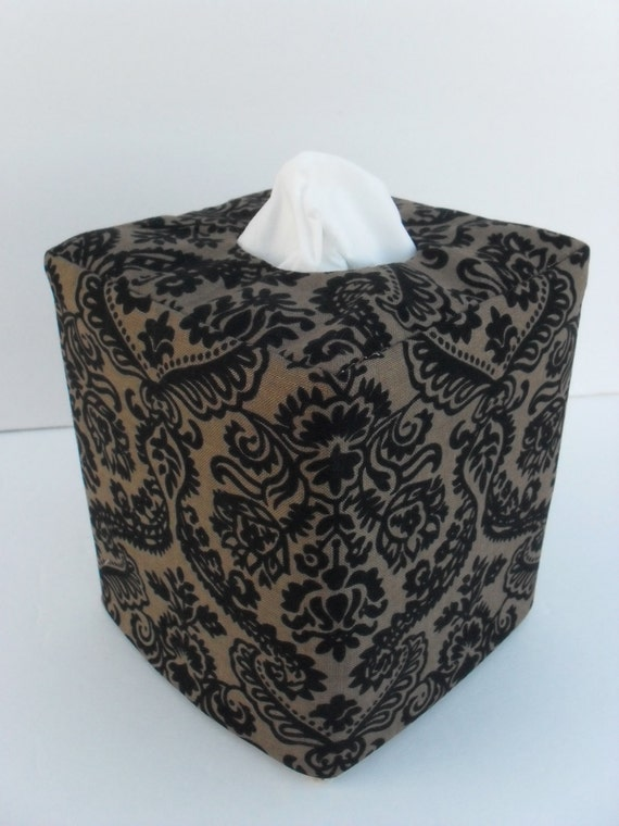 Brown and black damask reversible tissue box cover