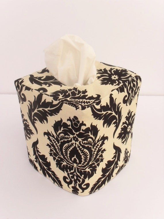 Black Damask reversible tissue box cover