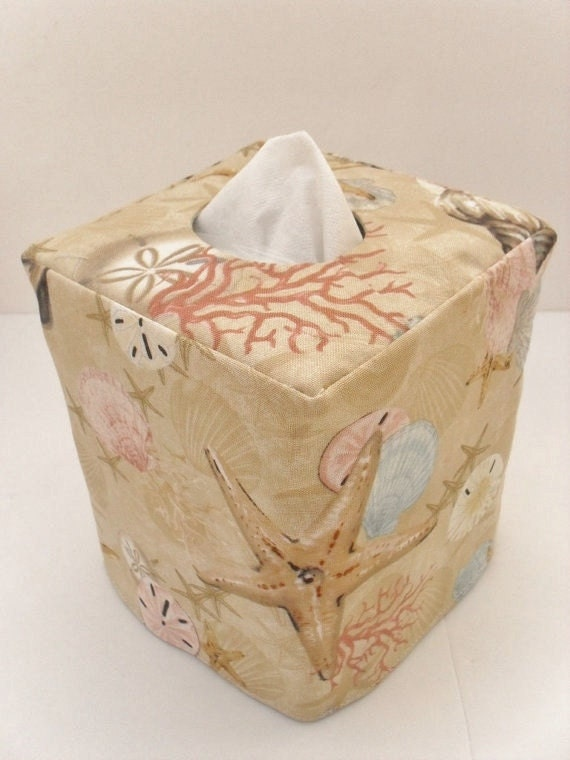 Seashell reversible tissue box cover - Beach themed tissue box cover ...