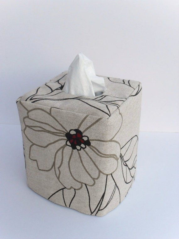 Abstract Floral reversible tissue box cover