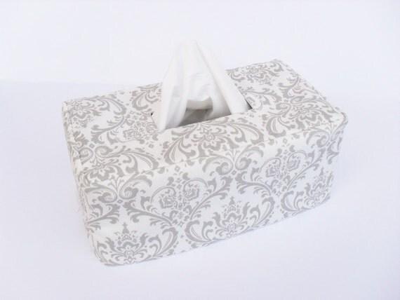 Grey Damask Rectangle Reversible Tissue Box Cover