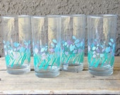 Vintage Quartet of Blue and Purple Spring Glasses
