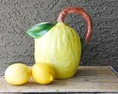 Retro Yellow Lemon-Shaped Pitcher, Hand Painted in Bassano Italy