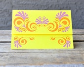 Retro Set of 4 Groovy, Ready-to-Mail Yellow, Orange and Purple Cards