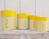 Set of 4 Nesting, Cheery Yellow Kitchen Canisters with Lemons