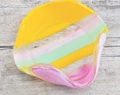 Yellow, Mint Green and Pink Glass Trinket Dish or Ash Tray