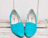 Retro Bright Teal Suede Pumps by Enzo Angiolini, Size USA 8