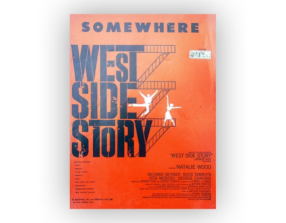 "Saul Bass sheet music design, 1957. ""Somewhere"" from West Side Story"