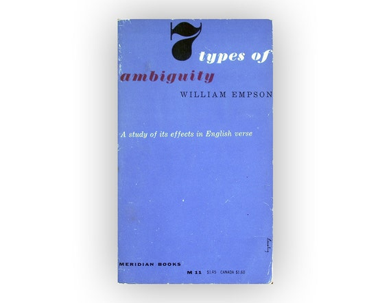 """Alvin Lustig paperback book cover design, 1955. """"7 Types of Ambiguity"""" by William Empson."""