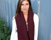 Divine Pinot Noir Infinity Scarf (Hand-Knit)