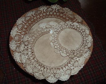 10 Grungy Walnut Ink Tea Stained Doilies Primitive Crafts
