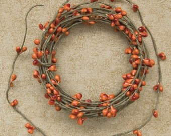One 18' Pip Berry Rope Garland Pumpkin Primitive Crafts Folkart Doll Making Wreaths Swags