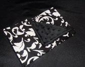 Black and White Damask Baby Burp Cloth