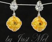 Cubic Zirconia Earrings, Swarovski Light Topaz Crystal Earrings - Wedding Earrings, Bridesmaid Earrings, Bridal Jewelry (E408)