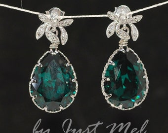 Emerald Green Earrings, Cubic Zirconia Orchid, Swarovski Crystal Earrings - Wedding Earrings, Bridesmaid Earrings, Bridal Jewelry (E249)