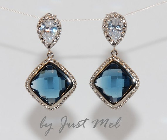 Wedding Earrings, Bridesmaid Earrings, Bridal Jewelry - Cubic Zirconia Teardrop Earring with Sapphire Blue Glass Quartz (E123)