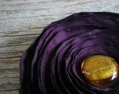 Purple & Gold Satin Flower Accessory
