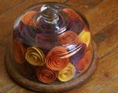 OOAK Autumn Centerpiece -- Upcycled Glass Dome -- Paper Flowers in Red Gold Orange Purple -- Recycled Repurposed