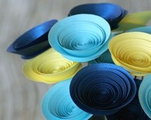 Paper Flowers in Blue and Yellow; Modern Centerpiece with Medium-Size Paper Flowers; Eco-Friendly Decor; Hostess Gift