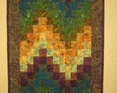 Art Quilt, Teal Plum Green & Gold Paisley Wall Hanging