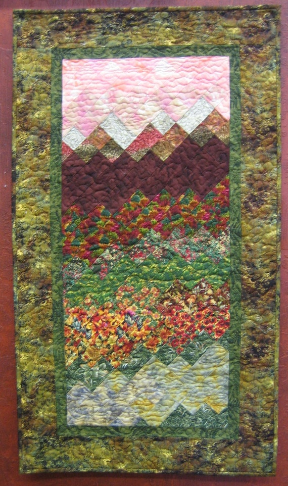 Reserved for LeDona-Sunset in Tahoe Art Quilt Wall Hanging
