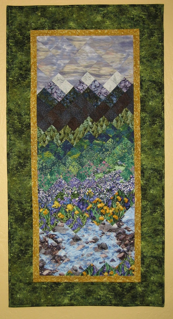 Art Quilt, Tahoe Purple Mountains Wall Hanging