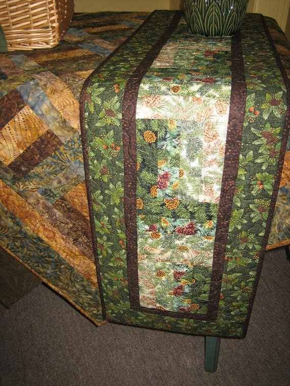 Reserved for Candace-Table Runner, Christmas Pine Cones and Pine Boughs