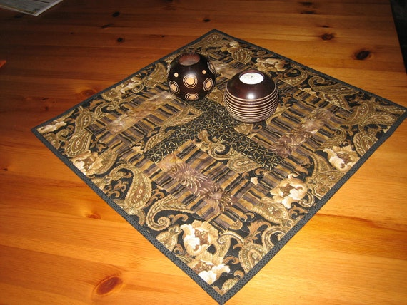 Table Topper, Contemporary Paisley Earth Tones