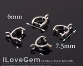 NP-183 Rhodium-plated, Bail, ice pick with top loop, plain, 10pcs