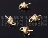 NP-607 Matt Gold-plated beads cap with peg, 4pcs