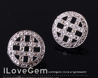 NP-788 Nickel free Rhodium-plated, Check pattern earring, 925 sterling silver post, 2pcs