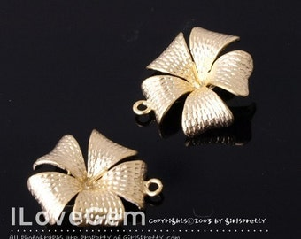 NP-621 M.Gold-plated Flower with peg connector, 2pcs