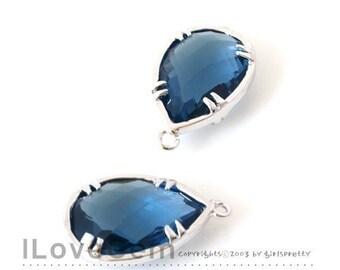 B057 Rhodium-plated, Sapphire Blue, Glass drop, 2pcs