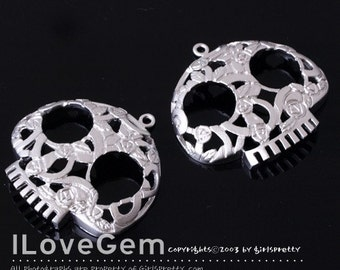 NP-671 Matt Rhodium-plated skull Pendant, 2pcs